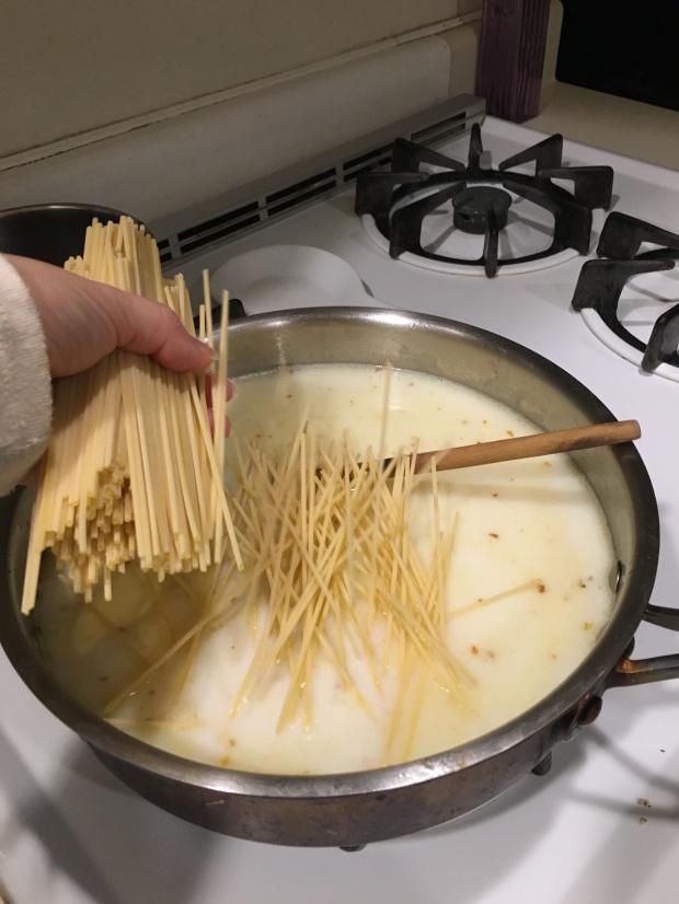 Add pasta noodles